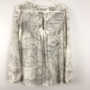 Cabi #634 Pintuck Pleated Peasant Blouse Gray L/S